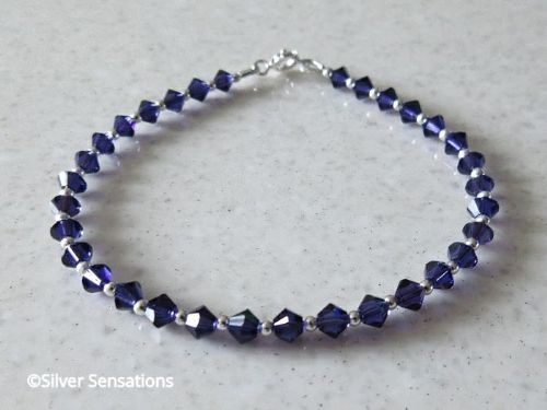 Dark Purple Swarovski Crystals & Sterling Silver Tennis Style Bracelet